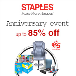 Earn up to3.0% Cash Back from Ebates.ca with Staples Canada Coupons, Promo Codes