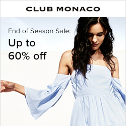 Earn 5.0% Cash Back from Ebates.ca with Club Monaco Canada Coupons, Promo Codes